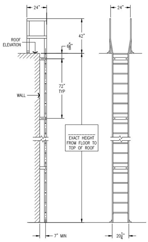 anchoring a roof deck to a parapet roof access ladders osha standard rooftop access ladders