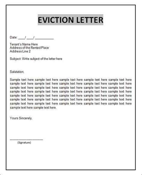 printable eviction letters sle eviction notice template 38 free documents in