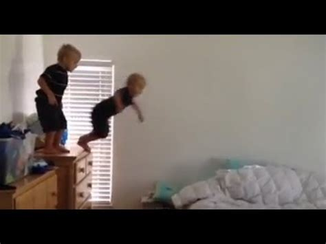 baby falls off couch super athletic twin brothers family fun pack youtube