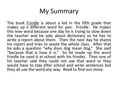 frindle book report response and exploration ppt