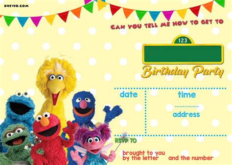 sesame birthday invitations free