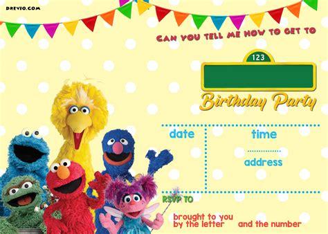 sesame street birthday invitations template alanarasbach com