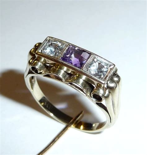 Handmade Aquamarine Ring - antique handmade ring 333 8 ct gold amethyst 2 x