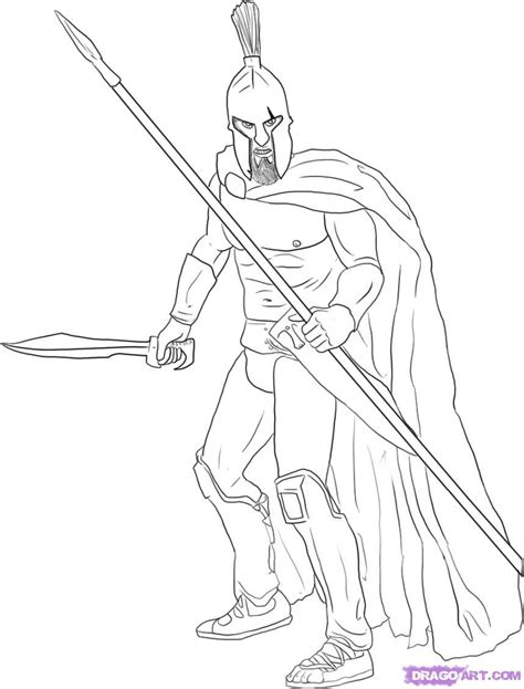 sketch of spartan soldier coloring pages