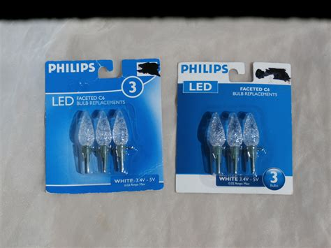 2 packages of 3 clear faceted c6 led bulb replacements