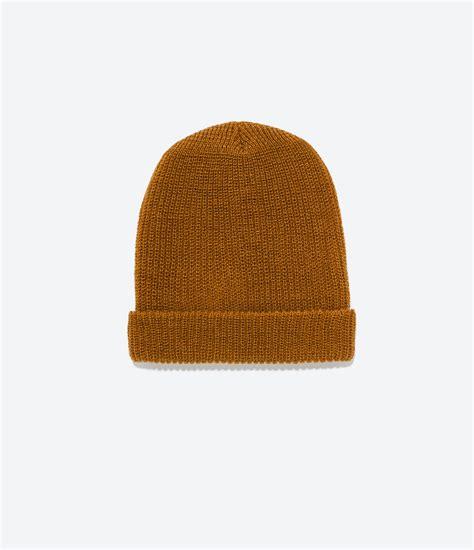 zara knitted hat in brown mustard lyst