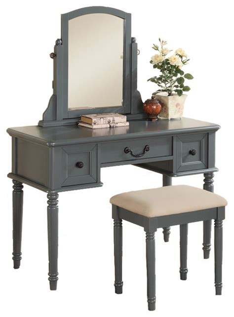 Grey Bedroom Vanity 3 Pc Makeup Vanity Set Large Drawer Swivel Mirror Bench