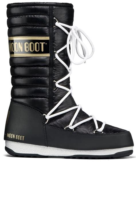 moon boot we quilted winter boot in black and gold at sue