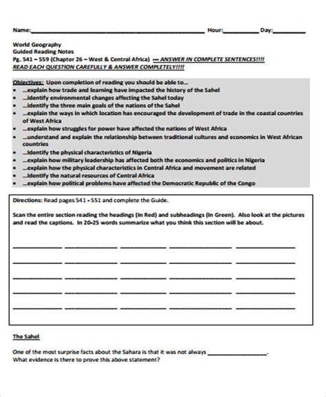 guided notes template 5 guided note templates free sles exles format