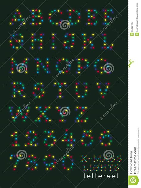 letterset christmas lights uppercase royalty free stock