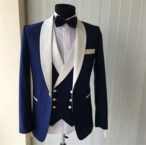 Handmade Mens Suits - custom made groomsmen shawl white lapel groom tuxedos blue