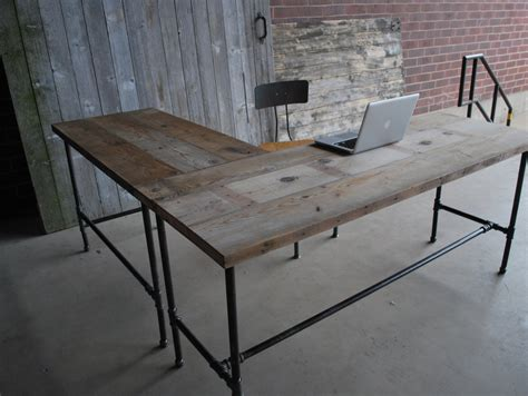 L Table Ideas Rustic L Shaped Unfinish Wooden Desk With Steel Pipe Table Legs And Stretcher Popular Rustic