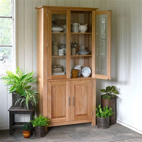 newark oak glazed display cabinet   cotswold
