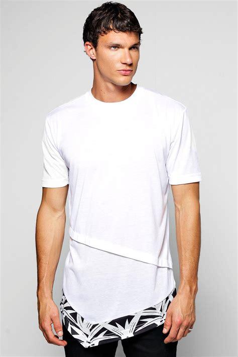 Longline Asymmetric T Shirt boohoo mens longline t shirt with asymmetric hem shape ebay