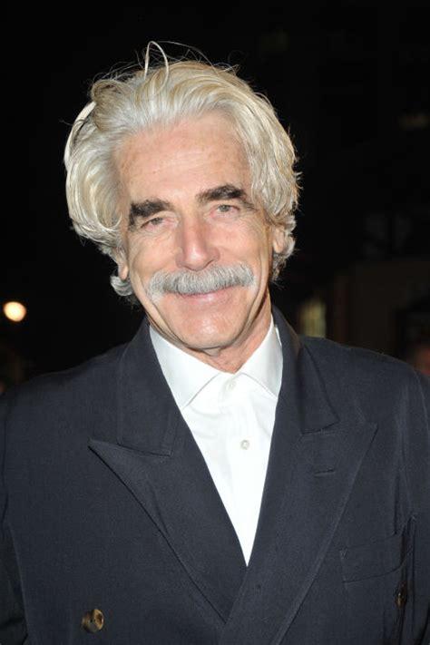 sam elliott long grey slickback hairstyle and handlebar mustache best silver foxes grey haired men