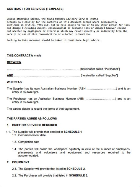 free service agreement template service contract template here is preview of another