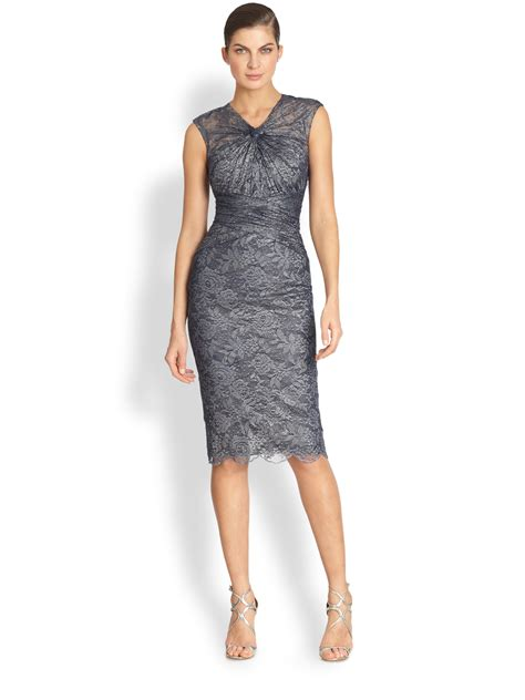 Dress Blue Lace Izzie Shop badgley mischka gathered lace cocktail dress in blue navy lyst