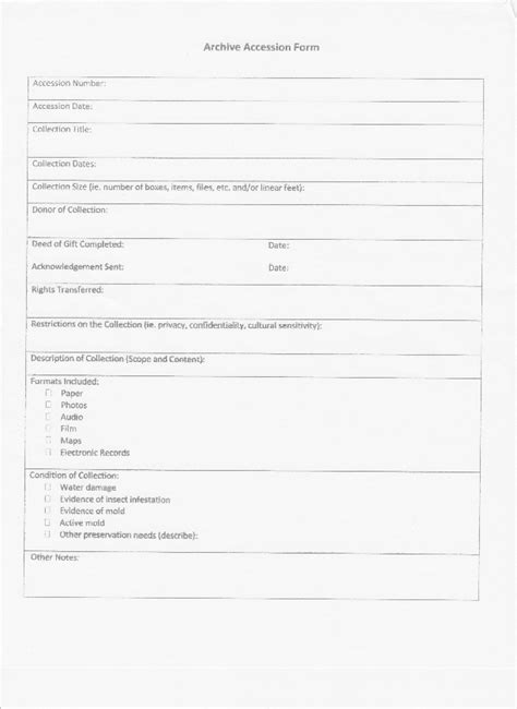 Archive Accession Form Template The Sustainable Heritage Network Archive Template