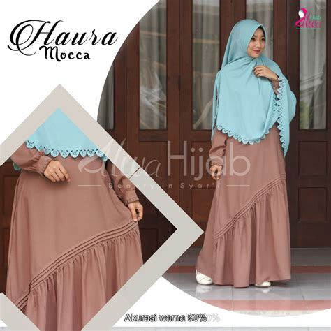 Queeny Salmon Khimar Antem Pet haura set rie