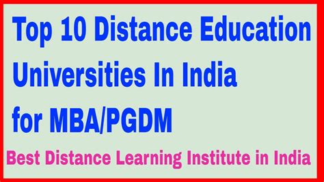 Mba Distance Education Colleges by Top 10 Distance Education Universities In India For Mba