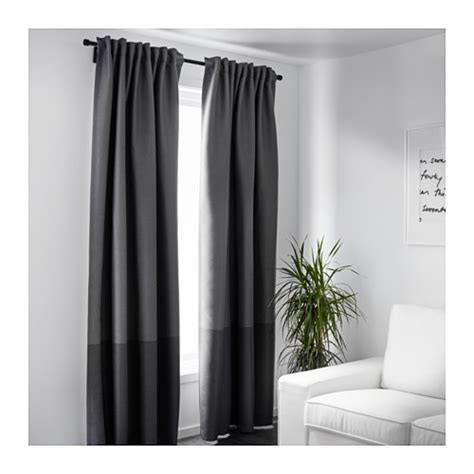 block out light curtains marjun block out curtains 1 pair grey 145x250 cm ikea