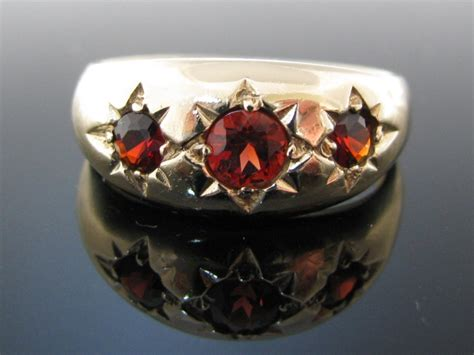 Vintage Three Stone Garnet Gold Ring   The Antiques Room