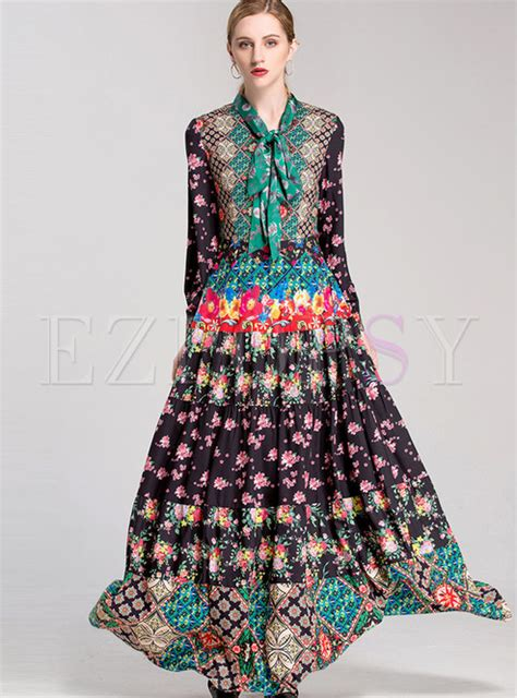 Etnic Maxy Dress dresses maxi dresses ethnic floral sleeve high