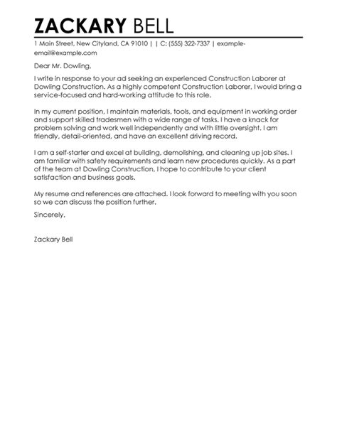 Cover Letter In Construction Construction Cover Letter Exles Livecareer