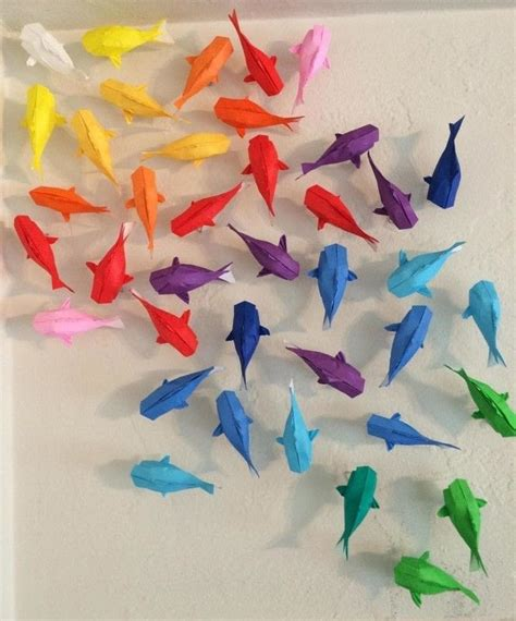 How To Make Origami Hanging Decorations - wall of rainbow koi 183 how to fold an origami fish