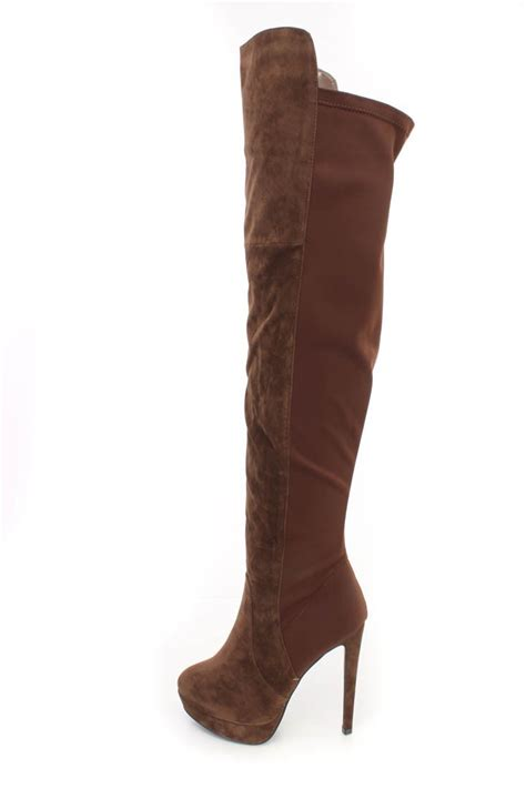 brown thigh high platform high heel boots faux suede