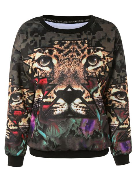 Tiger Print Pullover 3d tiger print chic pullover sweatshirt for in brown