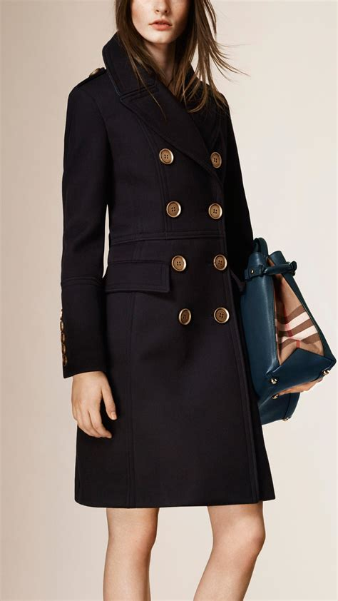 Csf Set Jaket Bulberry Navy Lyst Burberry Leather Trim Wool Coat In Blue