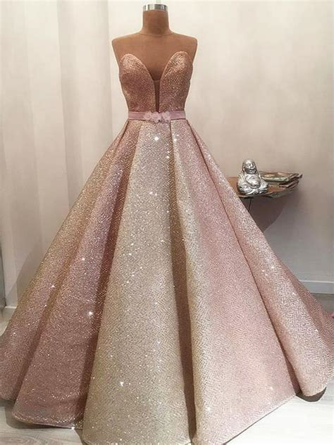 gorgeous shiny rose gold satin strapless ball gown prom
