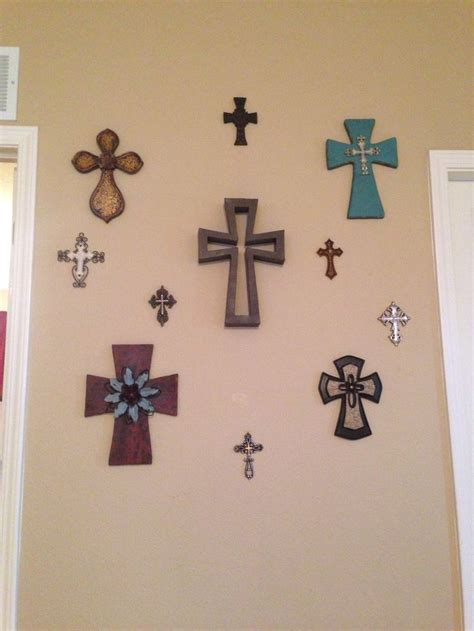 cross collage living room wall decorating ideas