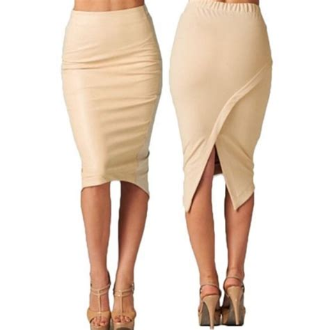 2016 pencil skirt knee length asymmetric
