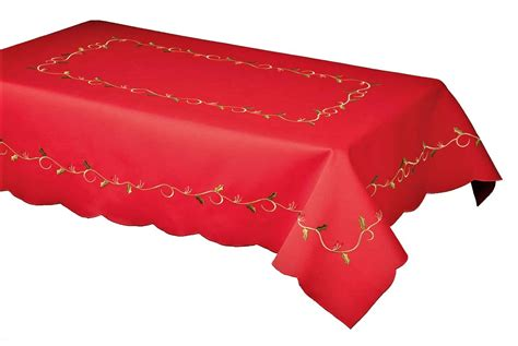 holly vines red embroidered christmas tablecloth 127x178cm
