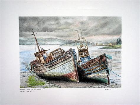 old boat drawing old fishing boats salen isle of mull drawing by aaron de
