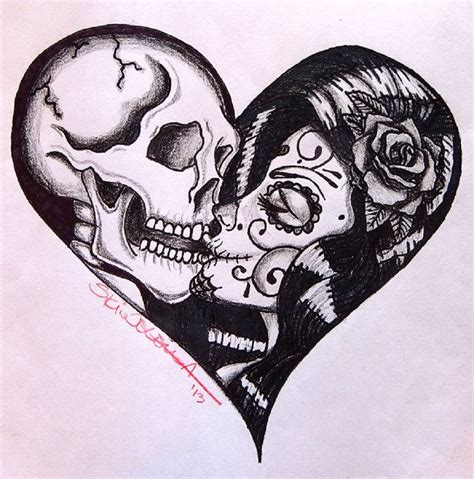 skull couple tattoos by skinderella sugar skull skeleton
