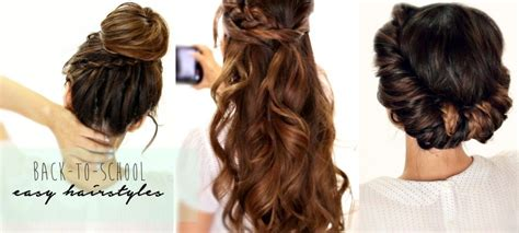 back to school updo hairstyles 5 minute hair tutorial video how to create 3 easy back to