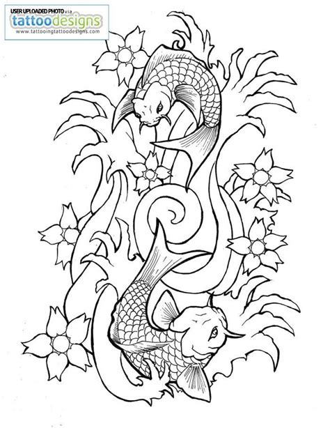 Koi Fish Drawing Outline Image Tattooing Tattoo Designs Koi Fish Coloring Pages