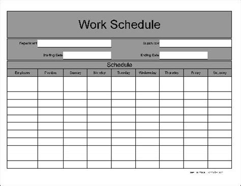 schedule form template work schedule template weekly schedule all form templates