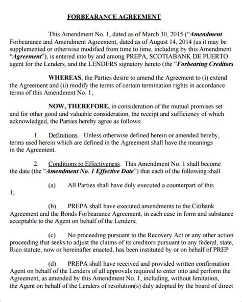 forbearance agreement template forbearance agreement 7 free documents in pdf