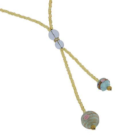 Glass Tie Necklace murano necklaces murano fiorato tie necklace aqua