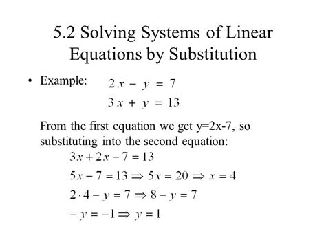Solving Linear Systems By Substitution Worksheet by 5 1 Solving Systems Of Linear Equations By Graphing Ppt