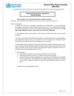 Form Template Clinical Trials informed consent form template for clinical studies