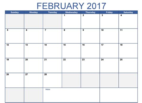 February Calendar Template february 2017 printable calendar templates free