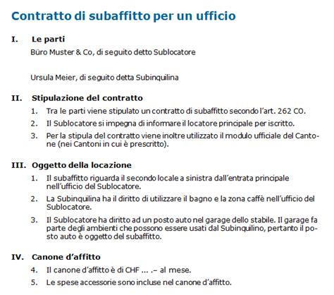 disdetta affitto ufficio contratto di subaffitto per un ufficio modello svizzero