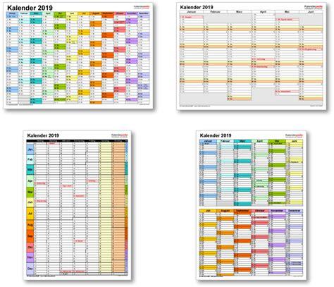 Kalender 2019 Zum Ausdrucken Kalender 2019 Mit Excel Pdf Word Vorlagen Feiertagen
