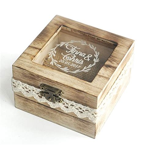 Wedding Ring Box Design by Personalized Wooden Wedding Ring Box Rustic Wedding Ring