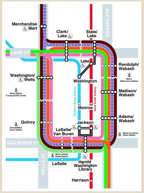 train sections are called map of the loop in downtown chicago from www